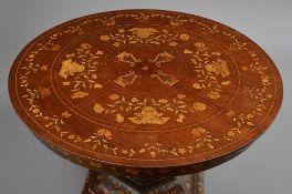 Runder Esstisch im holländischem Stil, Mahagoni mit floralen Intarsien aus Wurzelholz, Mitte 19.Jh.,