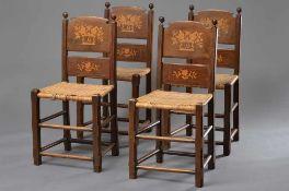 """4 Altländer Stühle mit intarsierter Lehne """"H"""", H. 94,5/47cm, Geflecht z.T. defekt"""