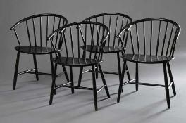 4 Sessel mit halbrunder Lehne in der Art von Ilmari Tapiovaara, schwarz, H. 79/45cm, 1x wackelig