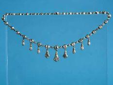 Spätviktorianisches Prunkcollier mit reichhaltigem Altschliff-Diamantenbesatz, zusammen ca. 22 ct,