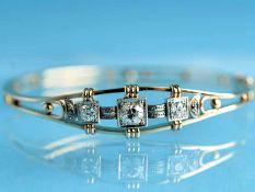 Armreifen mit 3 Altschliff-Diamanten, zusammen ca. 1 ct, um 1900 585/- Gelbgold. Gesamtgewicht ca.