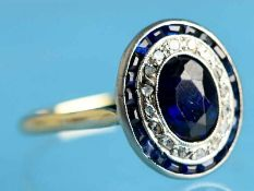 Ring mit Saphiren, blauem Farbstein und Diamantrosen, zusammen ca. 0,1 ct, Frankreich, Art Deco