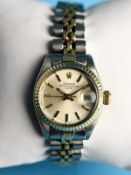 Damenarmbanduhr, Rolex, Oyster Perpetual, Lady Datejust, 80- er Jahr 750/- Gelbgold und Stahl.