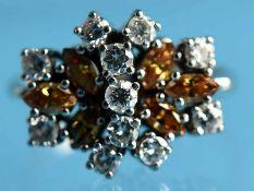 Ring mit 6 fancy yellow Diamant-Navettes und 11 Brillanten, zusammen ca. 0,5 ct, 70- er Jahre