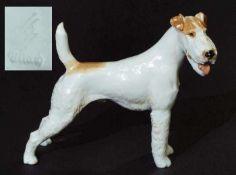 Foxl, stehend. ALLACH. Foxl, stehend. ALLACH. Entwurf Theodor Kärner, Modell Nr. 19. Ausformung 1936
