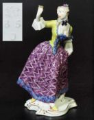 """Kommödiantenfigur """"Leda"""". Kommödiantenfigur """"Leda"""". NYMPHENBURG, 20. Jahrhundert. Modell von Franz"""