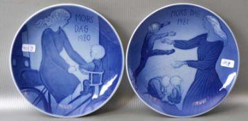 Zwei Muttertagsteller 1980 und 1981, blau, Dm 15 cm, FM Kopenhagen