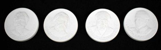Vier Plaketten Biskuitporzellan, exklusive Sammleredition berühmter Persönlichkeiten, Albert