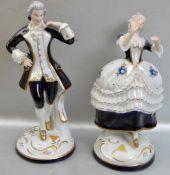 Elegantes Paar auf rundem Rocaillensockel stehend, Kavalier und Dame, gold und blau, sign. Wanke,