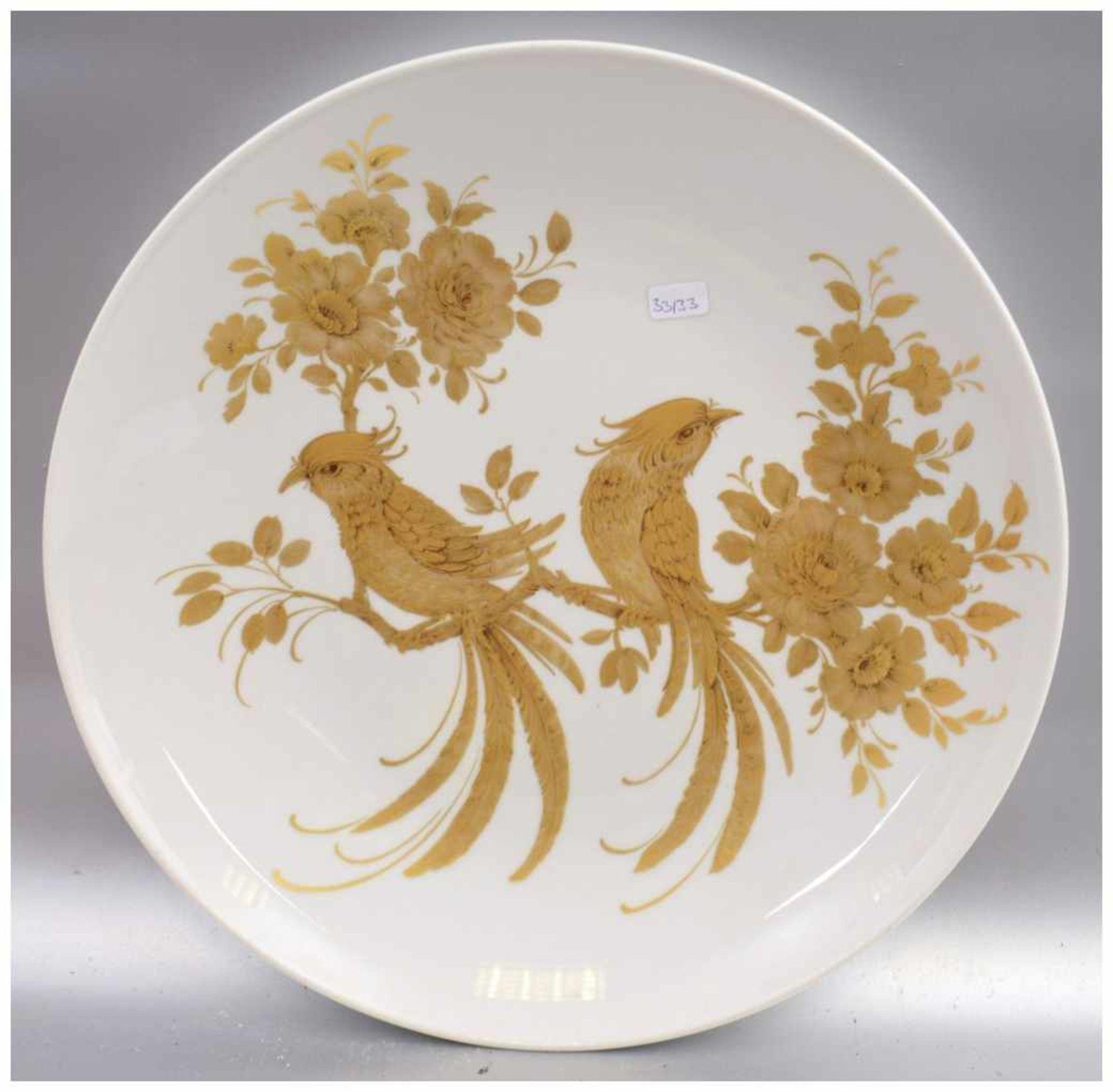 Los 55 - Wandteller rund, Spiegel mit Blumen- und Vogelmotiven gold bemalt, Dm 30 cm, FM Kaiser