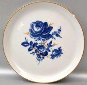 Teller Goldrand, Spiegel mit blau/goldener Blumenbemalung, am Rand best., Dm 17 cm, blaue