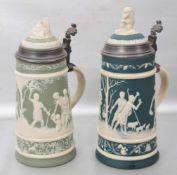 Zwei Krüge Wandung mit halbplastischen Szenen aus der griechischen Mythologie und Tiermotiven,