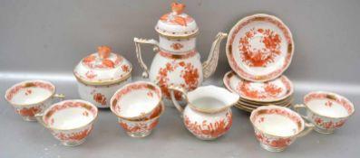 Mokkaservice 15 Teile, für sechs Personen, Dekor indische Blume orange, Deckel mit plastischer