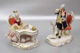 Musizierendes Paar auf Rocaillensockel, Geigenspieler und Mädchen im Tüllkleid am Klavier, besch.,