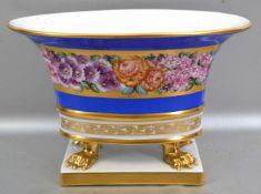 Ziervase oval, auf rechteckigem Sockel, mit vier goldenen Füßen, Schale gold/blau, Rand mit bunter