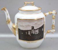 Kaffeekanne Medaillon mit Ansicht von Schloss Stolzenfels, Griff und Ausgießer in Astform , bunt