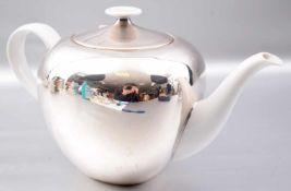 Teekanne weiß, mit Silberummantelung, H 14 cm, FM Rosenthal