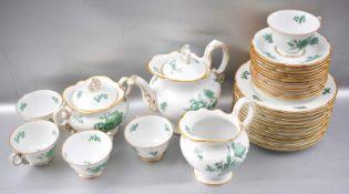 Kaffeeservice für fünf Personen, 30 Teile, Goldrand, mit grünen Blumen verziert, FM Rosenthal