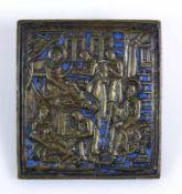 "Ikone (Russland, 18.Jh.) ""Heiliger Ihas""; Nordrussland; Messing-Reliefikone mit blauem Email; 9,5"