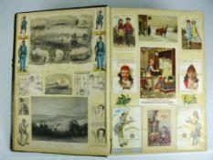 Werbung-/Glückwunsch-Karten Album (von 1893) mit ca. 1000 Karten und Bildern; u.a. großformatiges