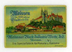 Altes Blechschild mit farbiger Ansicht von Meissen, der Meissner Blech-Industrie-Werke