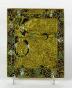 """Ikone (Russland, 18.Jh.) """"Gottesmutter Geburt""""; Messing-Reliefikone mit verschieden farbigem"""