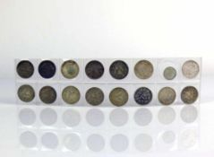 Kleine Münzsammlung insg. 16 Münzen; 14x 1/2 Mark; 1x 50 Pfennig 1898 A (ss/vz); 1x 1 Kreuzer 1867