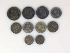 Konvolut deutsche Münzen Württemberg: 5 Mark 1903; 2x 3 Mark 1909 u. 1910; Preussen: 5 Mark 1900; 2x