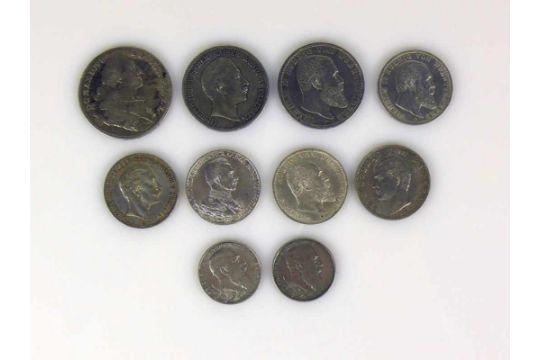 Konvolut Deutsche Münzen Württemberg 5 Mark 1903 2x 3 Mark 1909 U