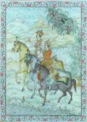 """Miniatur-Bild (Persien) """"3 Reiter in Landschaft""""; Mischtechnik/Elfenbein; ca. 15 x 11 cm; unter Glas"""