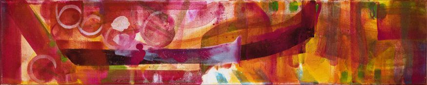 KATHARINA PRANTL (1958 WIEN) ZUM KIRSCHGARTEN I Mischtechnik auf Leinwand, 100 x 20 cm