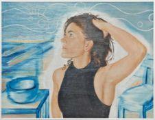 MARTIN PRASKA (1963 WIESLOCH) KÜCHENLIED, 2005 Öl auf Hartfaserplatte, 30 x 40 cm gerahmt, Maß mit