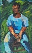 HELMUT GRÄFF (1958 GARS AM KAMP) FARMER, 1995/96 Öl auf Leinwand, 115 x 70,5 cm Signatur vorne links