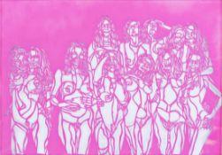 OLIVIER HOELZL * (1979 INNSBRUCK) FRAUEN, 2015 Cut-out aus Papier, 70 x 100 cm gerahmt, Maß mit