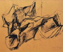 OSWALD STIMM (1923 WIEN - 2014 WIEN) SALUT, 1966 Tusche auf Papier, 36 x 44 cm gerahmt, Maß mit