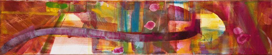KATHARINA PRANTL (1958 WIEN) ZUM KIRSCHGARTEN II Mischtechnik auf Leinwand, 100 x 20 cm