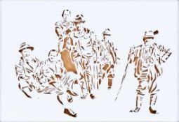 OLIVIER HOELZL * (1979 INNSBRUCK) JAEGER, 2015 Cut-out aus Papier, 70 x 100 cm gerahmt, Maß mit