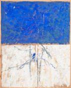 RUDOLF POLANSZKY (1951 WIEN) o. T., 1983 Kombinationsbild Öl und Mischtechnik auf Jute und Holz, 218