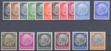 III. Reich 1933, Hindenburg, Wasserzeichen HakenkreuzeMichelnummern 512-528, postfrisch Luxus,