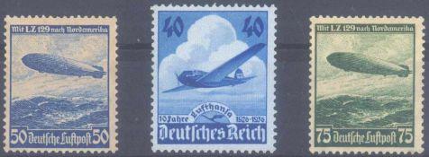 III. Reich 1936, Lufthansa und Luftschiff Hindenburg2 komplette Ausgaben, Michelnummern 603, 606 X