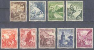 III. REICH 1938, Winterhilfswerk Ostmark, KW 100,- EuroMichelnummern 675 bis 683, postfrisch