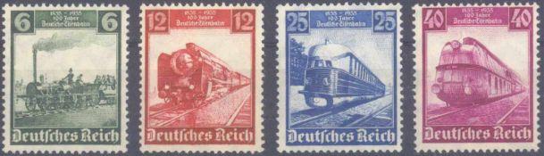 III. Reich 1935, 100 Jahre Deutsche EisenbahnMichelnummern 580-583, postfrisch Luxus, Katalogwert