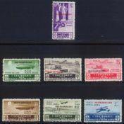 ÄGÄISCHE INSELN 1935 ISOLE ITALIANE DELLEGEO (ZEPPELIN)Flugpostmarken, Michelnummern 157-163,