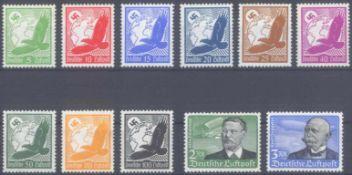 III. Reich 1934, FlugpostMichelnummern 529-539, die 2 Höchstwerte postfrisch je mitminimalen