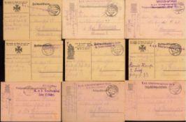 FELDPOST I. WELTKRIEG; K.u.K. ÖSTERREICH! 1915/191626 gelaufene Feldpostkarten