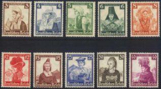 III. Reich 1935, Deutsche Nothilfe - TrachtenMichelnummern 588-597, postfrisch Luxus, Katalogwert