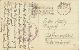 """SS-FELDPOST 1942, INFANTERIE BATAILLON """"DER FÜHRER""""SS-Feldpostkarte vom 18.3.1942 aus Stralsund"""
