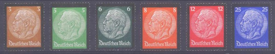 III. Reich 1934, Hindenburg - TrauerrandMichelnummern 548-553, postfrisch Luxus, Katalogwert 150,-