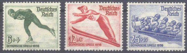 III. Reich 1935, Olympische Winterspiele 1936Michelnummern 600-602, postfrisch Luxus, Katalogwert