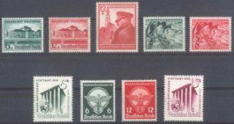 III. REICH 1938/1939, fünf komplette Ausgaben, KW 120 EuroMichelnummern 673-674, 684-685 und 689-